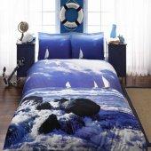 Taç Ocean Mavi Çift Kişilik Saten 3d Nevresim Takımı