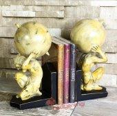 Dünya Temalı Çift Taraflı Kitap Tutucu Kitaplık