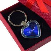 Isme Özel Kalp Tasarımlı Mavi Metal Anahtarlık
