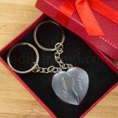 Sevgiliye Hediye İsme Özel Kırık Kalp Metal 2li Anahtarlık-2
