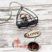 Sevimli Çift Minyatür Asılabilir Kapı Çanı Kapı Zili ve Biblo