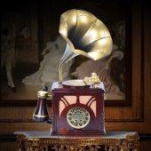 Gramofon Şeklinde Ahşap Vintage Antika Gerçek Kablolu Telefon