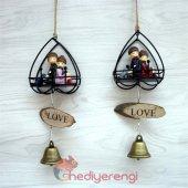 Sevimli Çift Minyatür Asılabilir Kapı Çanı Kapı Zili ve Biblo-3