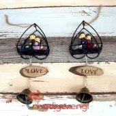 Sevimli Çift Minyatür Asılabilir Kapı Çanı Kapı Zili ve Biblo-6