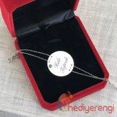 İsme Özel 925 Ayar Gümüş Nazar Boncuklu Plaka Bileklik