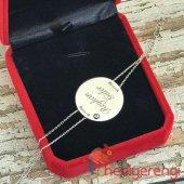 İsme Özel 925 Ayar Gümüş Nazar Boncuklu Plaka Bileklik-2