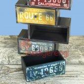 Retro Plakalar Temalı 4 Çekmeceli Ahşap Minyatür Komidin-4