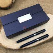 İsme Özel Tasarım Kutulu 2li Lacivert Kalem Seti-2