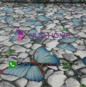 Lastikli Halı Örtüsü Turkuaz Kelebekli Çakıltaşı Dijital Welsoft-2