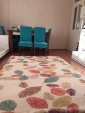 Nur Home Renkli Yapraklı Welsoft Dijital Lastikli Halı Örtüsü-4