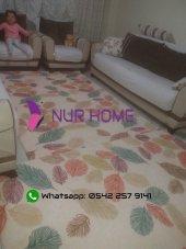 Nur Home Renkli Yapraklı Welsoft Dijital Lastikli Halı Örtüsü-5