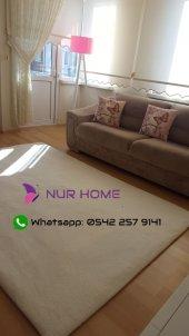 Nur Home Krem Ekru Düz Renk Lastikli Halı Örtüsü-3