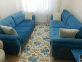 Nur Home Mavi Gül Bahçesi Lastikli Halı Örtüsü-4