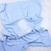 Triko İşlemeli Battaniye  42518-2 Mavı-2