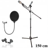 Mikrofon Sahne Standı Akrobat 150 Cm Pop Filter...