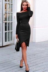 Japon Style Kadın Omuz Detay Siyah Elbise
