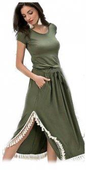 Japon Style Kadın Haki Pon Pon Elbise