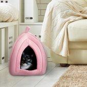 Polarlı Kedi Yuvası Evi Köpek Yatağı Kulübesi Minderi Pet Hut-3