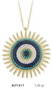 14 Ayar Altın Nazar Boncuğu Güneş Kolye Kly1317