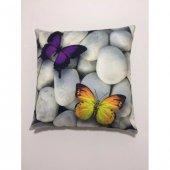 Nevresim Dünyası 3d Dekoratif İçi Dolu Kırlent Butterfly 2