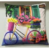 Nevresim Dünyası 3d Dekoratif İçi Dolu Kırlent Colorful Bike