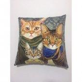 Nevresim Dünyası 3d Dekoratif İçi Dolu Kırlent Gangaster Cats