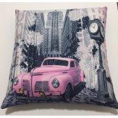 Nevresim Dünyası 3d Dekoratif İçi Dolu Kırlent Pink Car