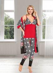 Lady Desenli 4lü Pijama Seti