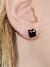 Kare Radyal Kesim Siyah Zirkon Küpe 4 Mm