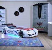 Arabalı Yatak + Dolap , Mersedes Full+ Full Ledli Arabalı Yatak