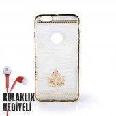 Secron Apple iPhone 6 Plus - 6S Plus Yaprak Desenli Silikon Kılıf Gold