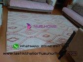 Nur Home Pembe Krem Kum Saati Lastikli Halı Örtüsü