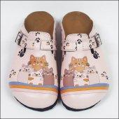 Kedi Ailesi Temalı Özel Tasarım Sabo Terlik OST-603