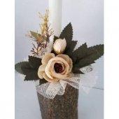 Mumluk 2 Adet Şamdan Ağaç Odun Yapay Çiçek Tanzim-2
