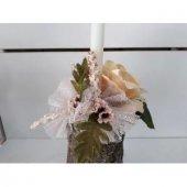 Mumluk Şamdan Ağaç Odun Yapay Çiçek Tanzim-2