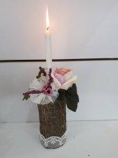Mumluk Şamdan Ağaç Odun Yapay Çiçek Tanzim