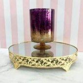 Cam Şamdan Vazo Altın Gold