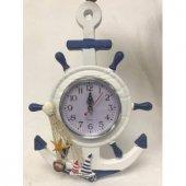 Ahşap Çıpa Denizci Dümen Model Duvar Saati