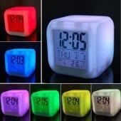 7 Renk Değiştiren Led Işıklı Küp Alarmlı Masa Saati Gece Lambası