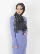 Batik Desenli Şal Siyah Petrol