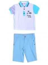 Kts Baby 4415 Bayrak Nakışlı Polo Yaka Sweatshirt Kapri Kemer Erk