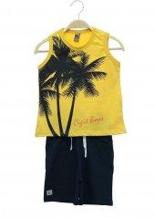 Palmiye Baskı S.Kol Kapri Takım 2-9 Yaş Erkek Çocuk Giyim-3