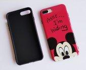 I Phone 7 Plus - 8  Plus Red Micky Mouse Telefon Kılıfı-2
