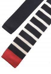Lacivert - Beyaz Örgü Kravat 8239-2