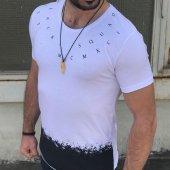 Yaka Yazı Baskılı Erkek Tişört