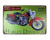 Dekoratif Eskitilmiş Görünümlü Metal Pano Harley Motor 20x30-2