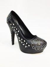 Rosmarin Siyah Taşlı Abiye Platform Ayakkabı Topuk 13cm