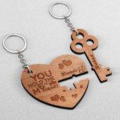 Kişiye Özel İkili Kalbimin Anahtarı Ahşap Anahtarlık 1