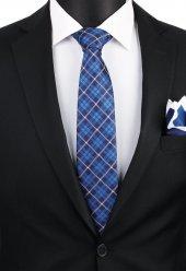 Mavi Ekose Desen Mendilli Kravat 3282