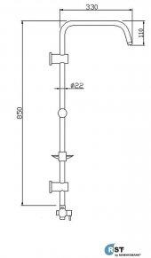 RST® MANNESMANN Sürgülü Tepe Duş Seti - R - Serisi T - Model-2